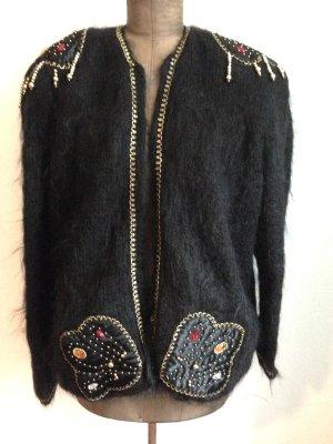 Vintage Jacke aus Mohair mit goldenen Applikationen, passt Gr. 40-44
