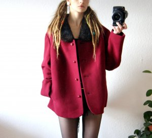 Vintage Jacke bordeaux, oversized Jacke Echtpelzkragen, 20er preppy alternative