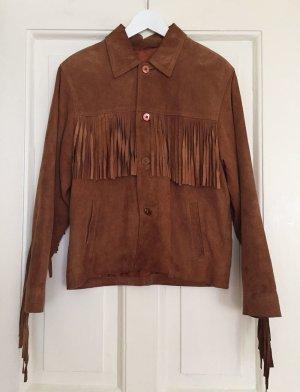 Vintage-Jacke Lederjacke Wildlederjacke Fransen Western Cowboy - 38