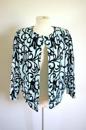 Vintage Jacke mint mit floralem Muster Samt, türkise Blazerjacke samtig Ausbrenner