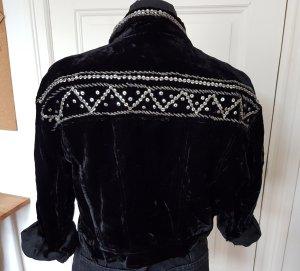 Vintage Jacke Schwarz Samt Perlen Rock Chic Unique