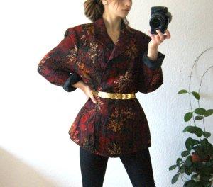 Vintage Jacquard Blazer dunkelrot, florale Blazerjacke oversized Gobelin, 80er blogger alternative
