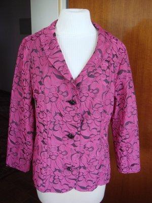 Vintage - Jäckchen Gr. 40 pink schwarz gemustert Jacke Blazer