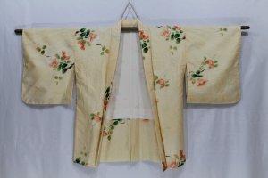 Vintage japanische Haori Robe Blumenmuster weiß Orange Farbe