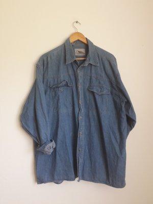 Vintage Blusa vaquera azul-azul acero