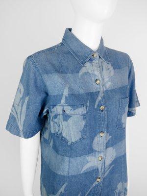 Camicia denim blu-azzurro Cotone