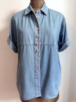 Vintage Jeanshemd mit Knöpfen in Holz Optik, Gr. 42/44
