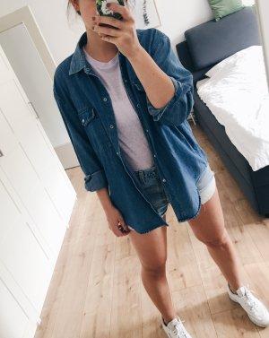 Chemise en jean bleu acier-bleu foncé