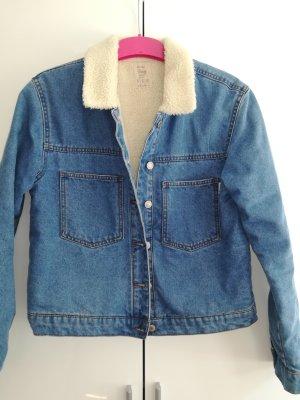 Vintage Jeansjacke mit Teddyfell Kragen
