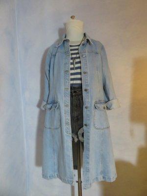 Vintage Jeansmantel Parka Trench Coat Oversized Jeans Jacke Hellblau 38 40 42 M L Festival Blogger