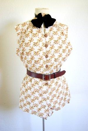 Vintage Jumpsuit mit Kirschenmotiv, preppy Playsuit Knopfreihe