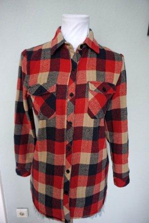 Camicia a maniche lunghe rosso scuro-blu scuro Cotone