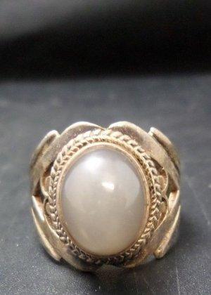 Vintage Katzenauge Cabochon Cat eye oval Ring 925 Sterling Silber Silberring