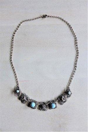 Vintage Kette Dirndl Tracht silber Steine hellblau Edelweiss Enzian