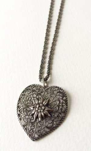 Vintage Kette Herzanhänger Silber Bayern Dirndl Necklace Retro Granny
