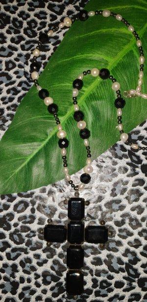 Vintage  Kette mit Kreuz und Perlen