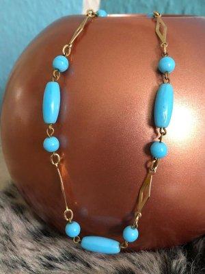 Collana di perle azzurro-oro Materiale sintetico
