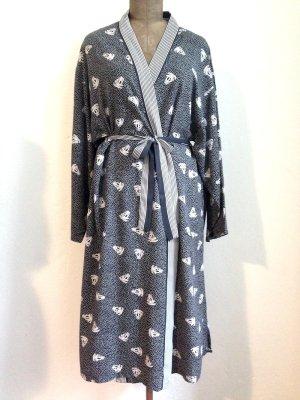 Vintage Kimono/ Kleid mit Ankermotiven, Viskose, Gr. L (passt Gr. 40/42)