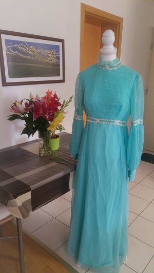 Vintage Kleid 60s chiffon Spitze volants kragen Pastell blau