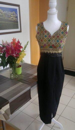 Vintage Kleid 60s wiggle dress hoher Schlitz azteken muster