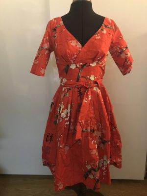 Robe avec jupon rouge coton