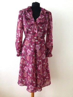 Vintage Kleid aus Chiffon mit Volants am Kragen, Gr. 40