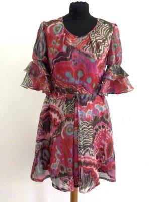 Vintage Kleid aus glänzendem Stoff mit Volant Ärmeln, Gr. 38
