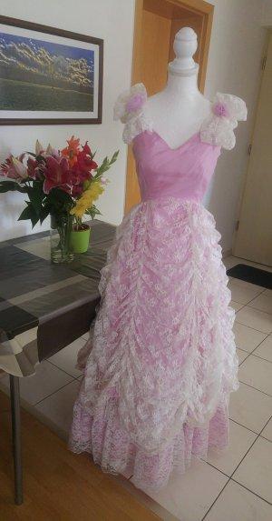 Vintage Kleid ballkleid 70s prinzessinSpitze Rosa pastell rosen