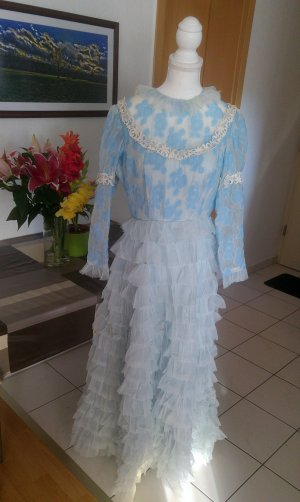 Vintage Kleid chiffon floral Glitzer lamé spitze lolita prinzessin disney