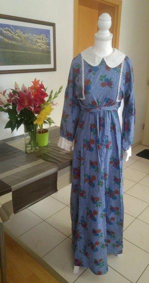 Vintage Kleid Denim Style Country lolita 60s floral bubikragen Peter Pan Kragen