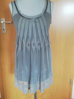 Vintage Kleid in mauve-grau mit Spitze