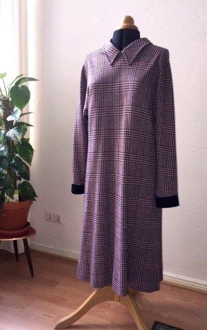 Vintage Kleid in Schwarz/Rosa mit Glencheckmuster Gr. 40