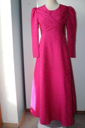 Vintage Kleid Langarm Festmode Rosen Original Gr. 38 magenta