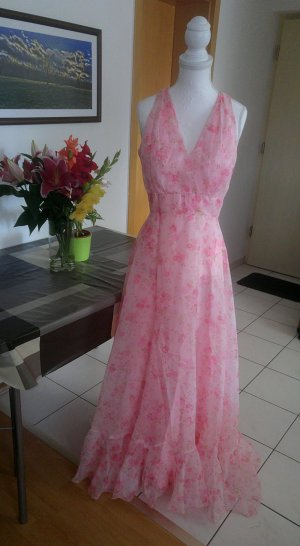 Vintage Kleid maxikleid chiffon floral Pastell rosen cape 70s