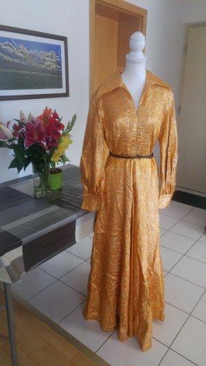 Vintage Kleid maxikleid Gold geprägt Glitzer lamé 60s