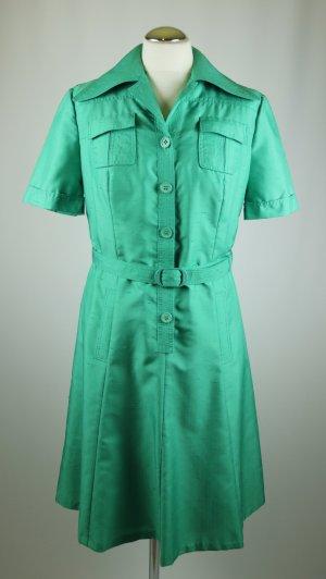 Vintage Kleid Midikleid Blusenkleid Delmod international Größe S 36 38 Grün Grasgrün Gürtel 50er 60er Jahre Look Seidenoptik A Linie