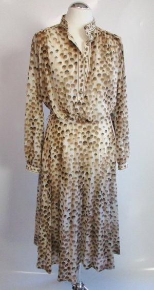 Vintage Kleid Midikleid Boecker Größe 38/40 Braun Leo Blätter Knopfleiste Herbstliches Kleid Polo 40er Retro Chiffon
