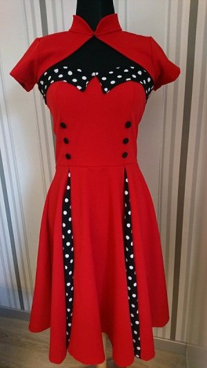 Vintage Kleid mit Bolero in rot Größe S = 36
