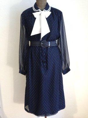 Vintage Kleid mit Bubikragen, Pünktchen und Schleife, Gr. 42/44