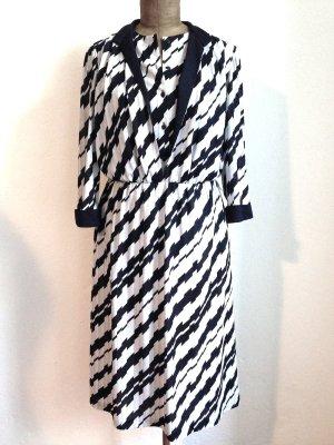 Vintage Kleid mit grafischem Muster in dunkelblau/grau, Gr. 40