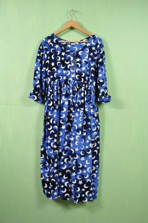 Vintage Kleid mit Mond und Sterne in Blau