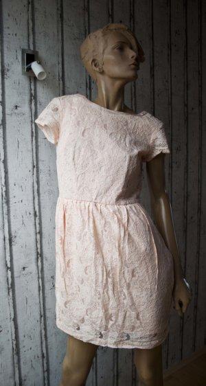 Vintage Kleid mit Spitze altrosa/creme