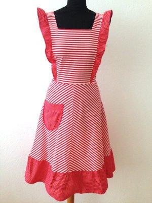 Vintage Kleid mit Streifen und Punkten aus Baumwolle, Gr. 34/36