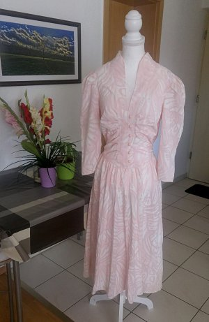 Vintage Kleid Muster Print Knöpfe 80s floral schleife kragen