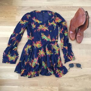 Vintage Kleid - navy long sleeve flower dress
