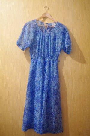 Vintage Kleid PEGGY LANE Blumen Blau 38 lang transparent Kurzarm Flower Sommer