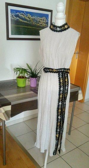 Vintage Kleid plissee faltenrock griechisch samt gürtel Glitzer floral gehschlitz maxikleid