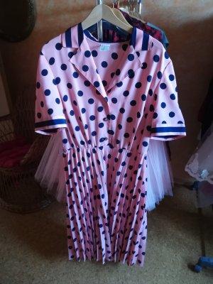 Vintage Kleid Plissee Punkte Dots Rockabilly