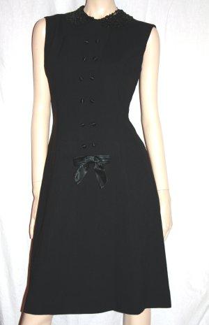 Vintage Kleid schwarz 38 edel verspielt Pailettenkragen