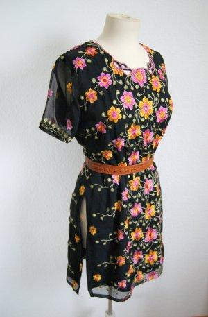 Vintage Kleid schwarz-floral, orientalisches Abendkleid Seitenschlitze Stickerei, 70er boho festival